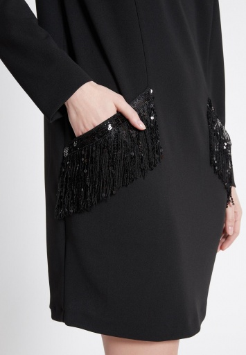Ana Alcazar Kleid mit Taschen Wafra Schwarz
