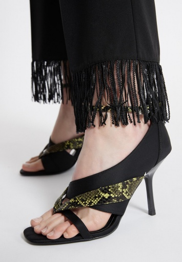 Ana Alcazar Fringe Trousers Wagora Black