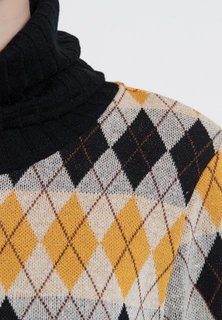 Rollkragen Pullover Vekama mit schwarz gelb weißem Argyle Karo | Ana Alcazar