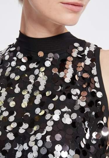Detailed view of Ana Alcazar Glam Sequin Jumpsuit Rhetea Black