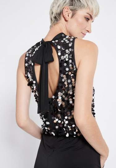 Detailed view 2 of Ana Alcazar Glam Sequin Jumpsuit Rhetea Black
