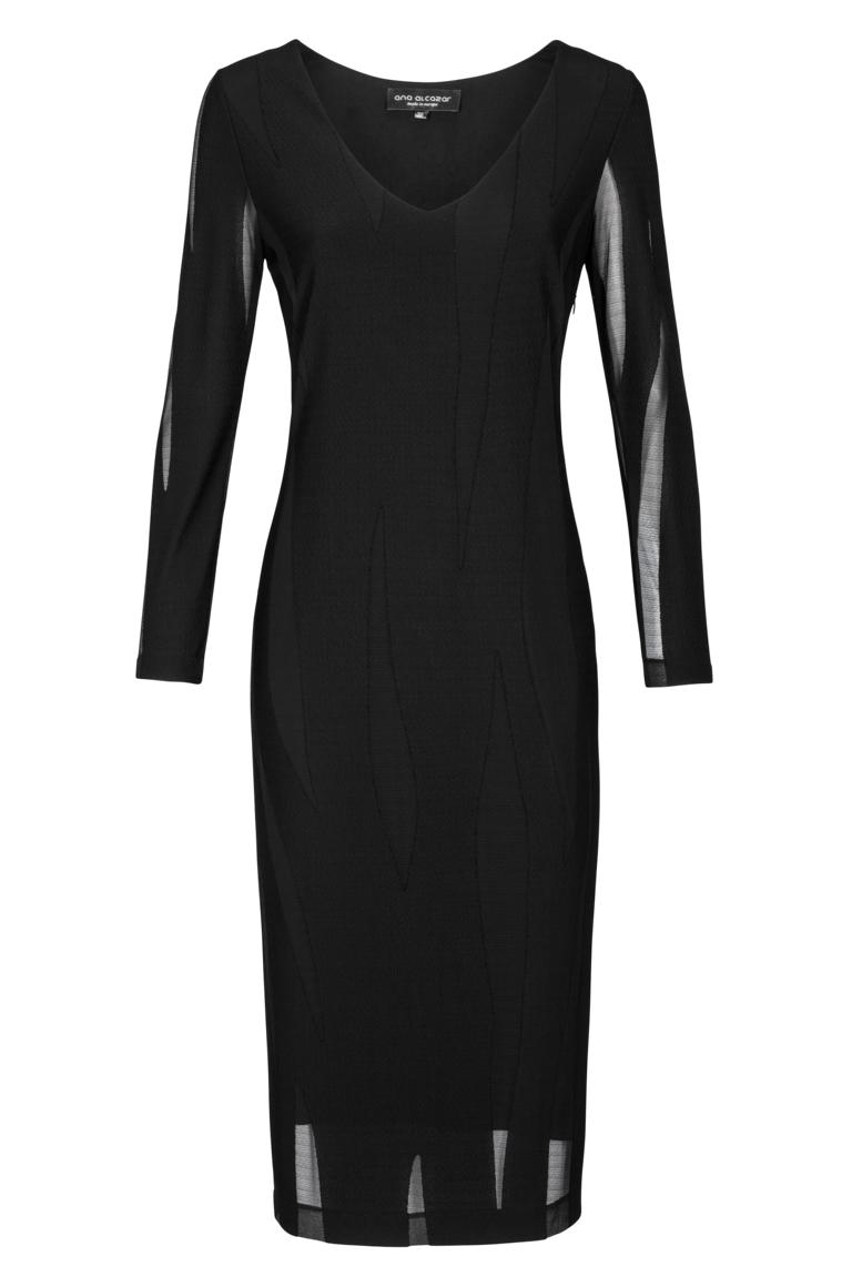 Ana Alcazar Simple Longsleeve Dress Black Faleys