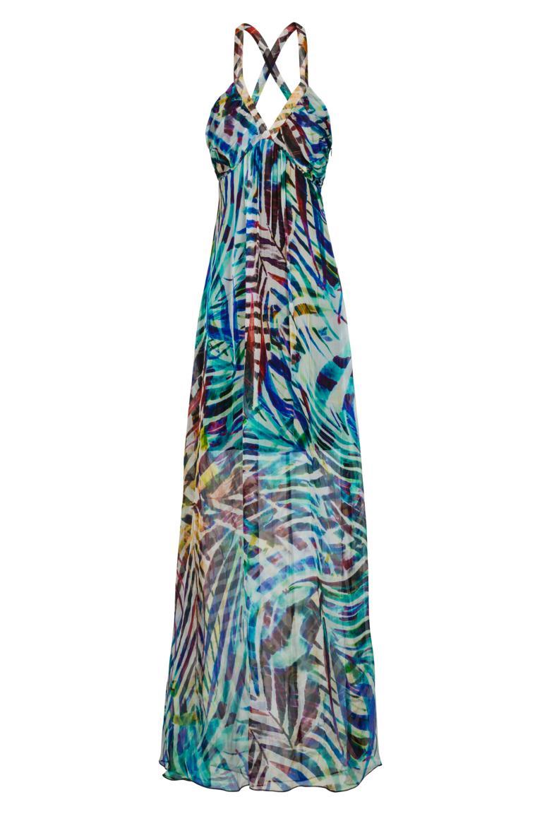 Maxi Jurk Turquoise.Maxi Dress Aquarellis With Jungle Print Ana Alcazar