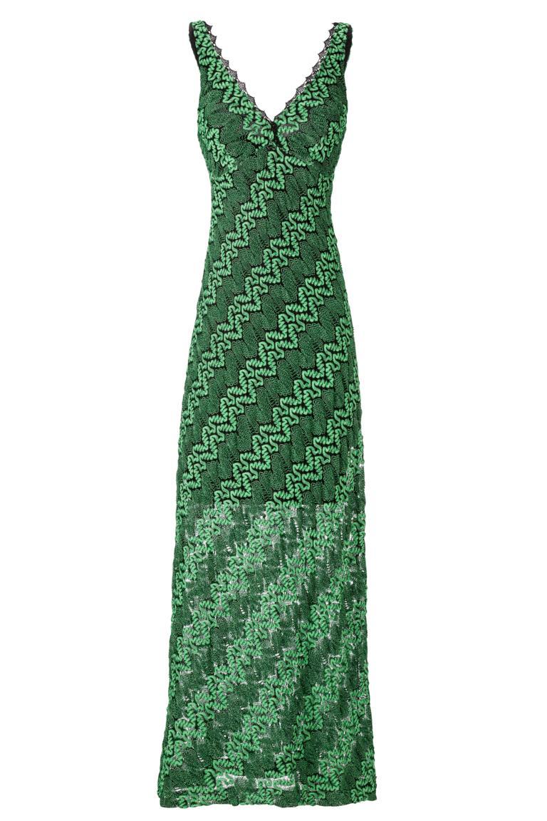 Langes Häkelkleid in Smaragd Grün | Ana Alcazar