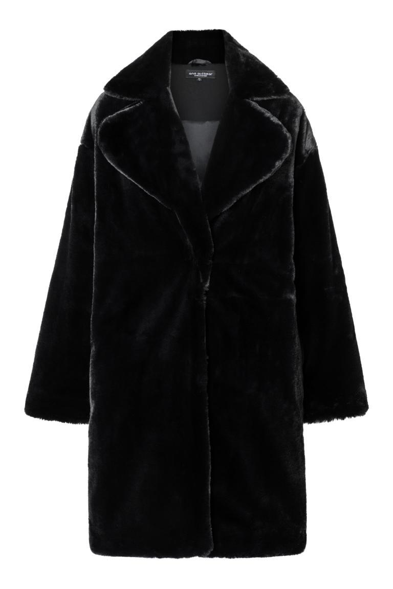 Ana Alcazar Fake Fur Coat Oriana Black