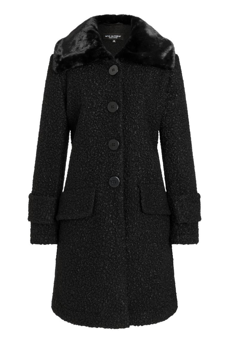 Ana Alcazar Fake Fur Coat Oleni Black