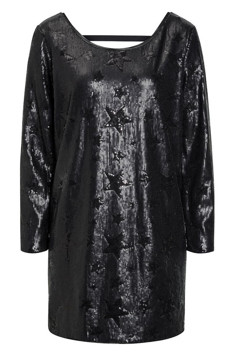 schwarzes pailletten minikleid mit sternenprint ana alcazar. Black Bedroom Furniture Sets. Home Design Ideas