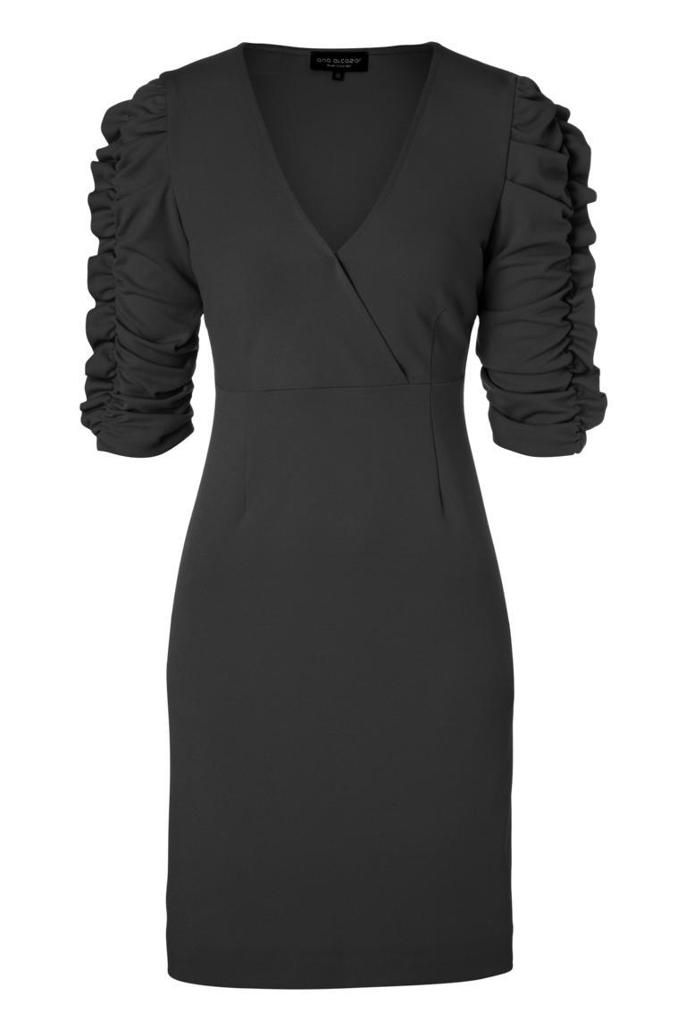 Schwarzes Kleid Peany mit V-Ausschnitt & auffälligem Arm  Ana Alcazar