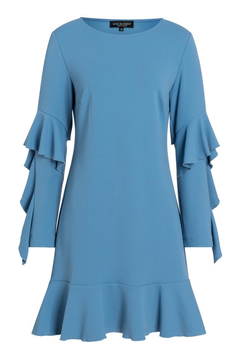 Ana Alcazar Volantärmel-Kleid Philis Blau