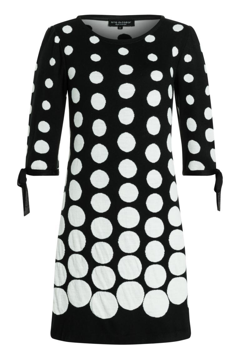 Ana Alcazar Sleeved Dress Palmara Black-White