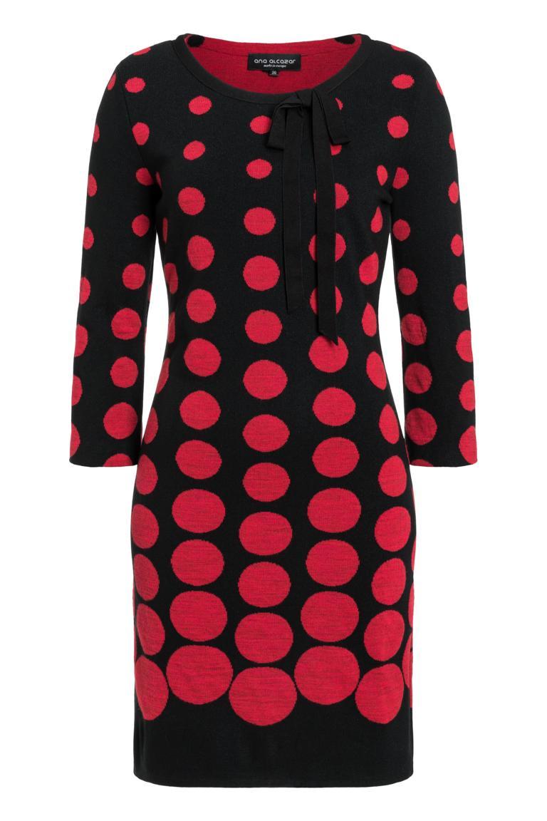 Ana Alcazar Schleifen Kleid Peiky Schwarz-Rot
