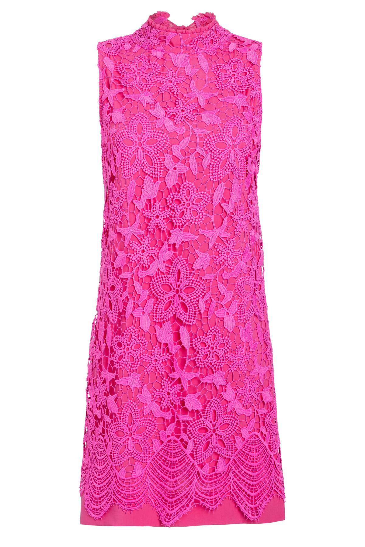 d1d1c16676d31d A-linje jurk Saguna van kant in pink