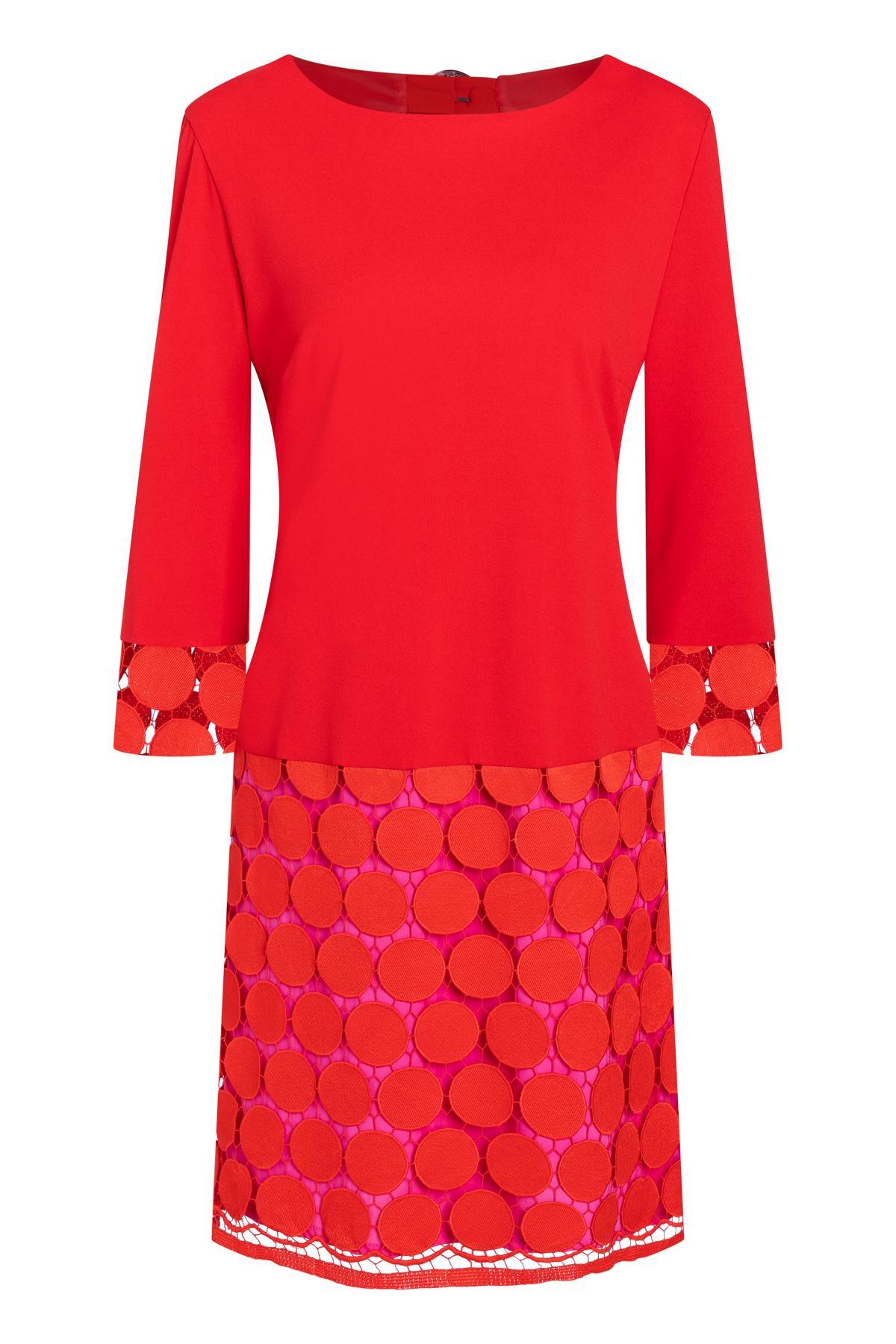 b450a9c3c4ef94 Rood sixties jurk Sakani van stippen-kant