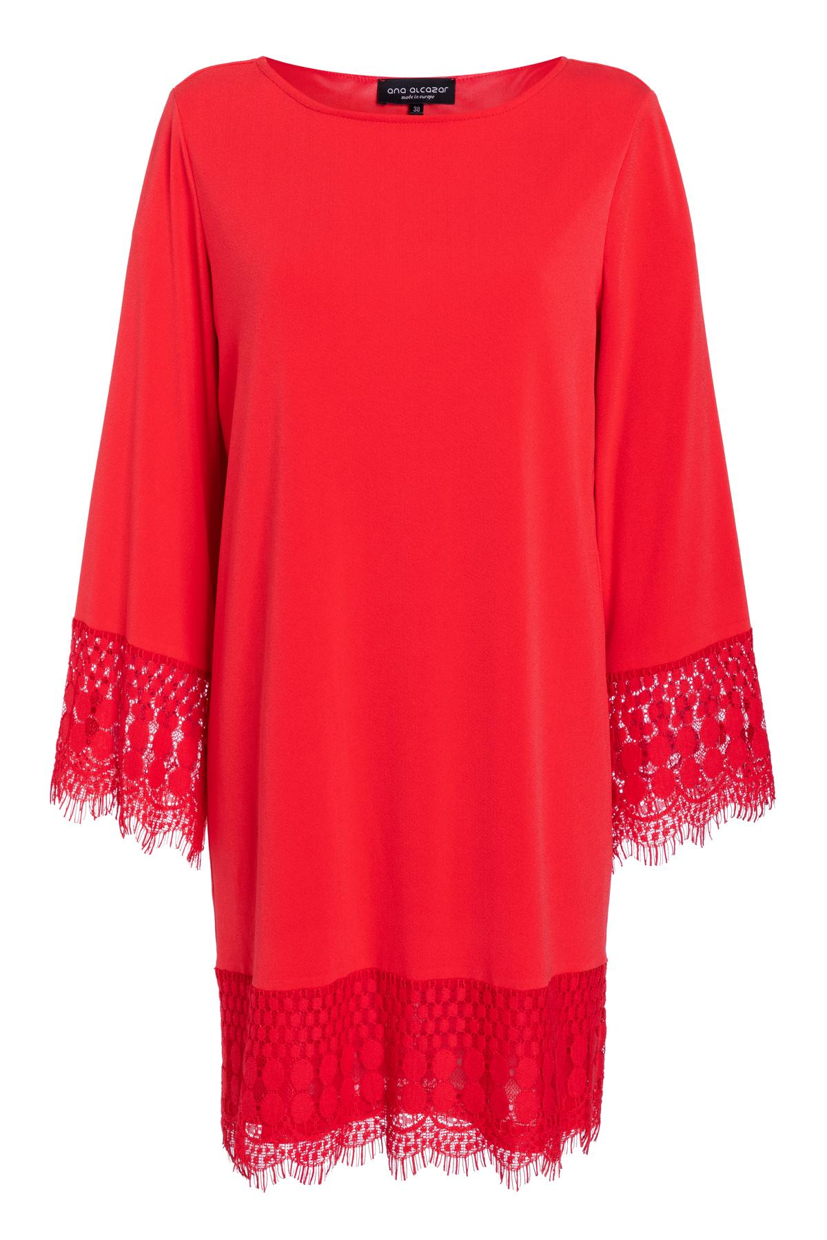 Ana Alcazar Longsleeve Dress Saorea Red