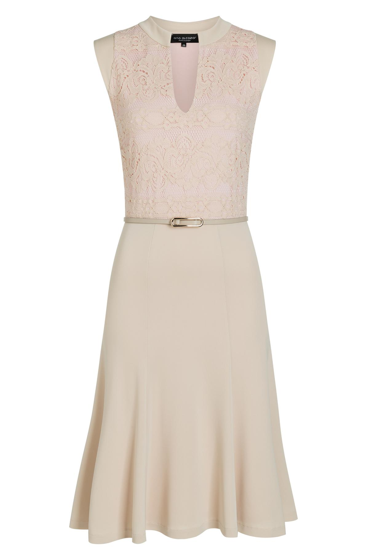 Beige mix dress Taggy from lace and jersey  Ana Alcazar