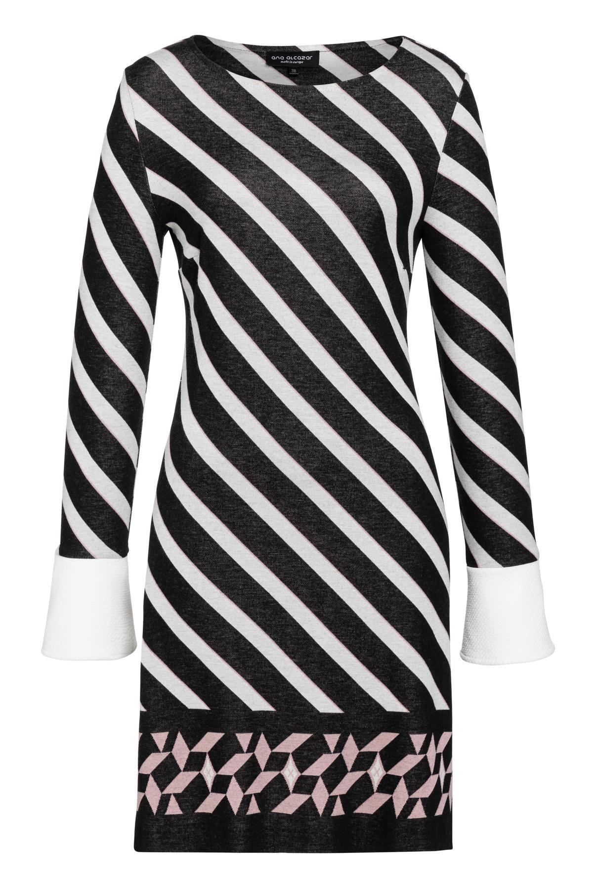 manschetten-kleid vemos gestreift in schwarz-weiß | ana alcazar