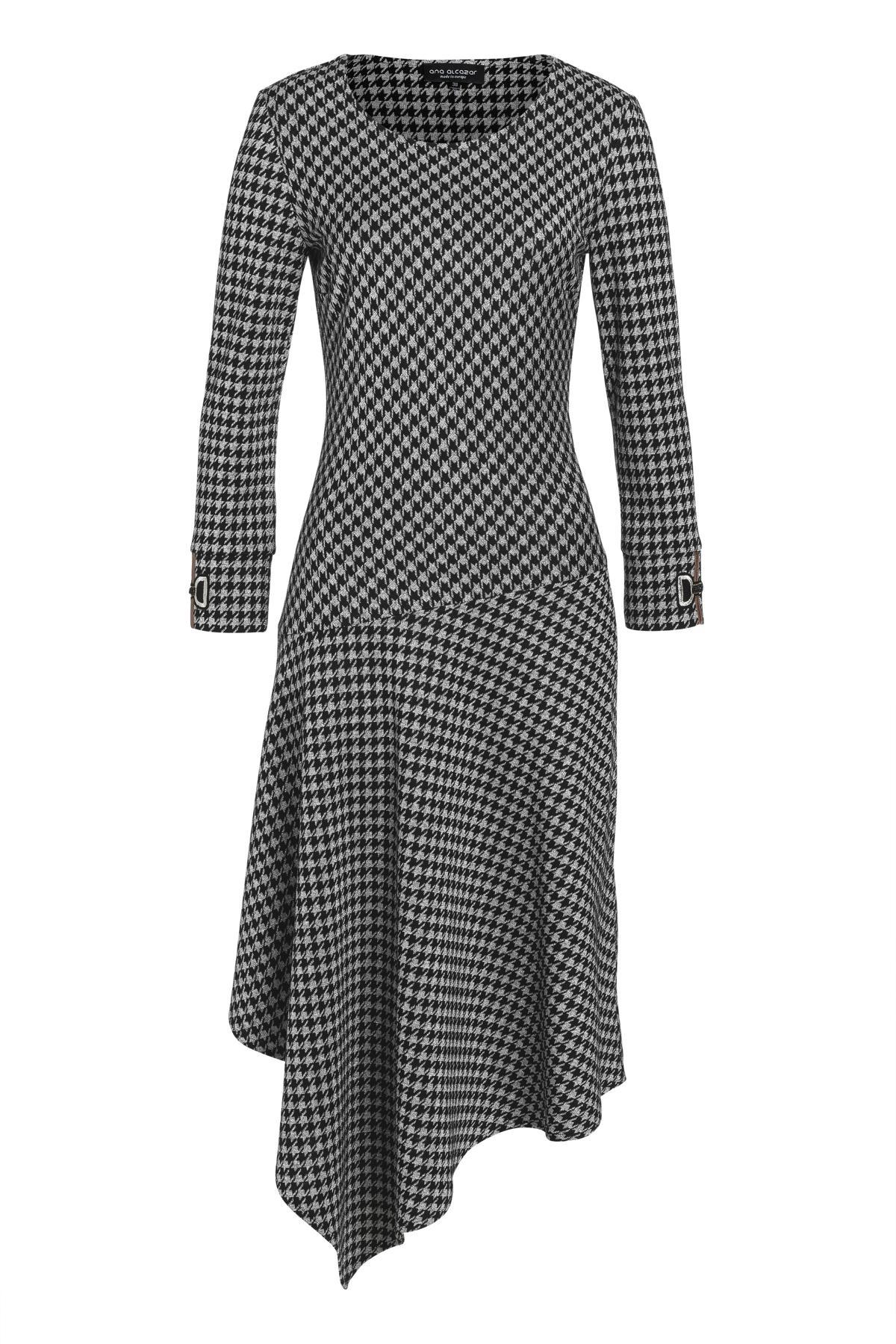 Asymmetrisches Kleid Velsora in Schwarz-Weiß mit Hahnentritt  Ana Alcazar