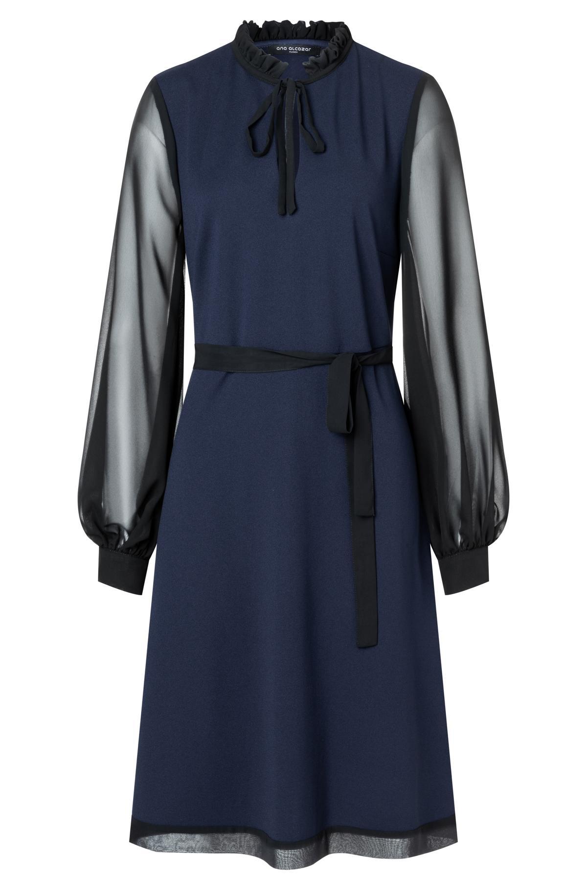 elegant tunic dress waery in blue with chiffon-sleeves   ana alcazar