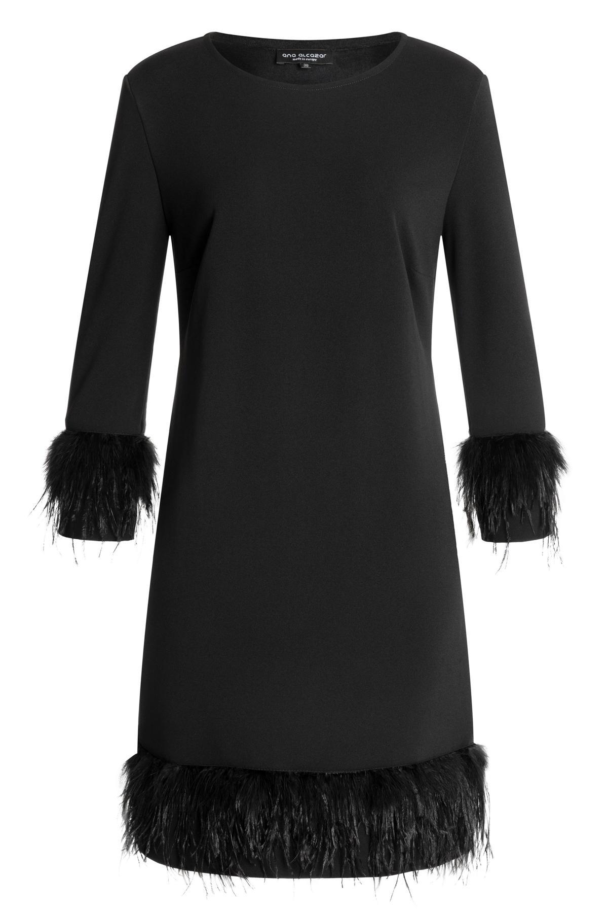 Ana Alcazar Kleid mit Federn Wafose Schwarz 18