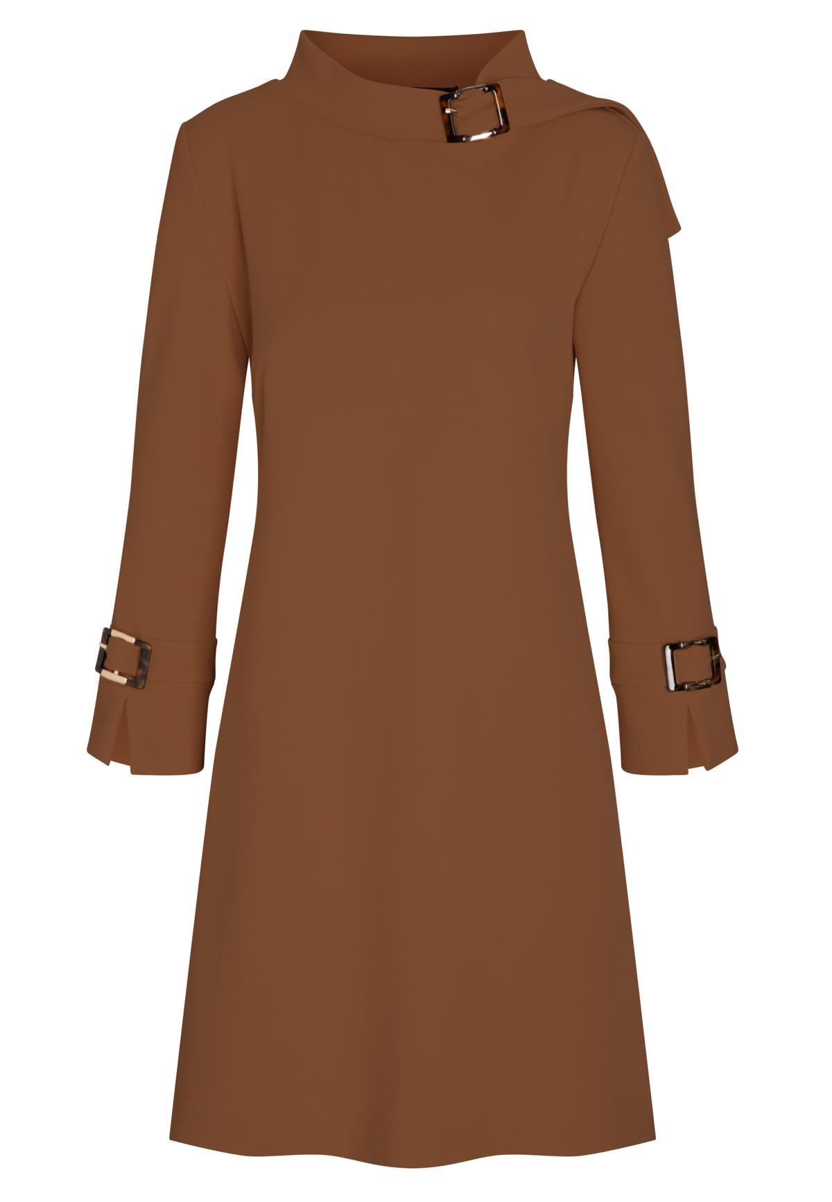 Braunes Sixties Kleid Basea mit Stehkragen  Ana Alcazar