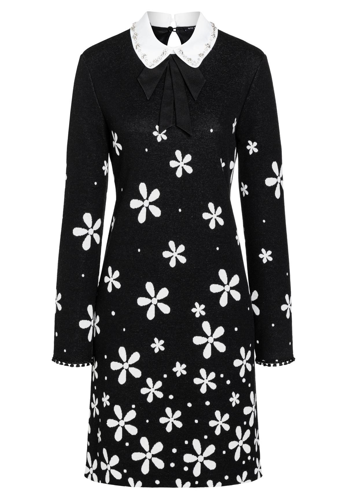schwarz-weißes kleid bela mit zierkragen & blumenmuster | ana alcazar