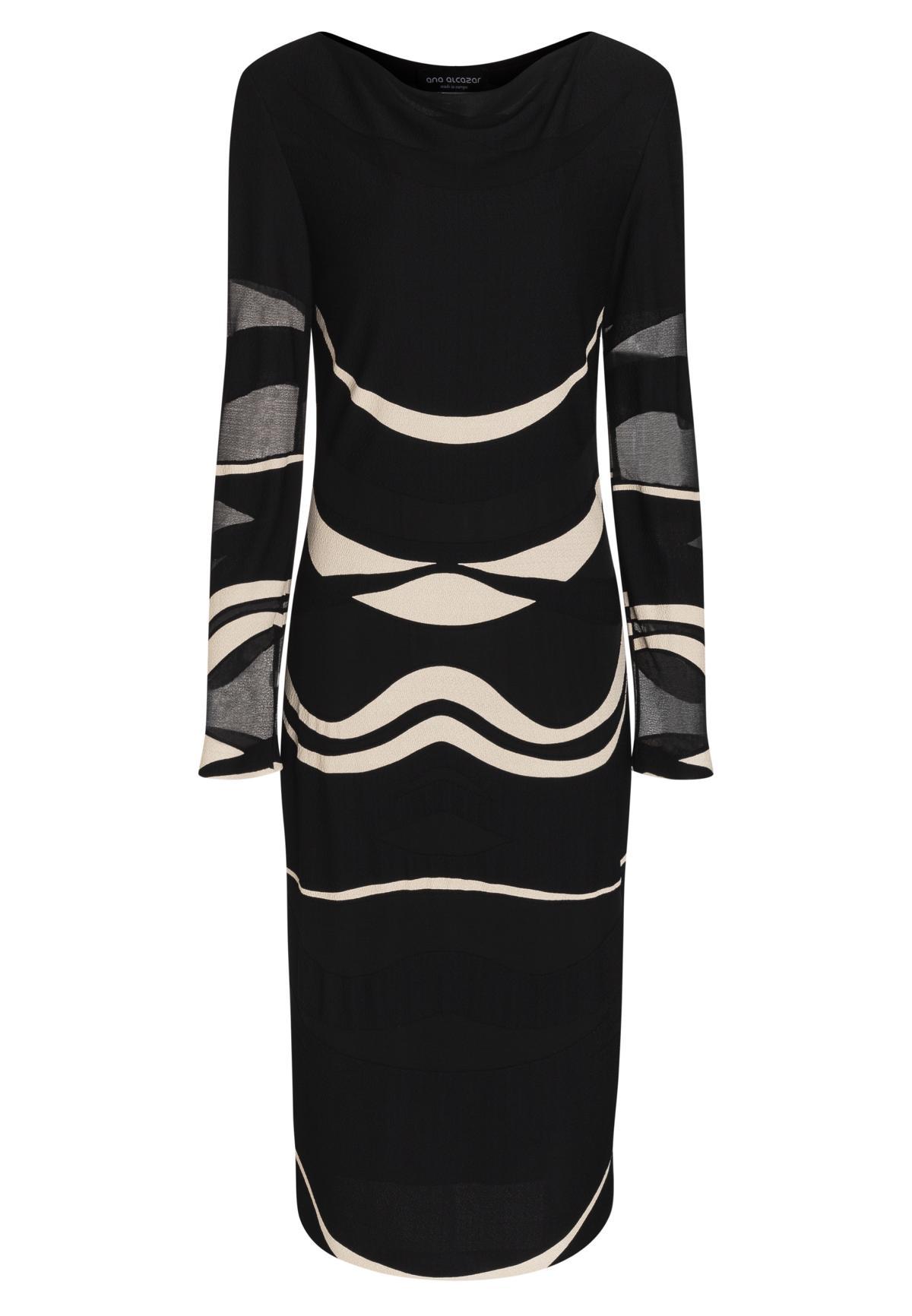schwarz-weißes winterkleid bepina mit wellen-print | ana alcazar