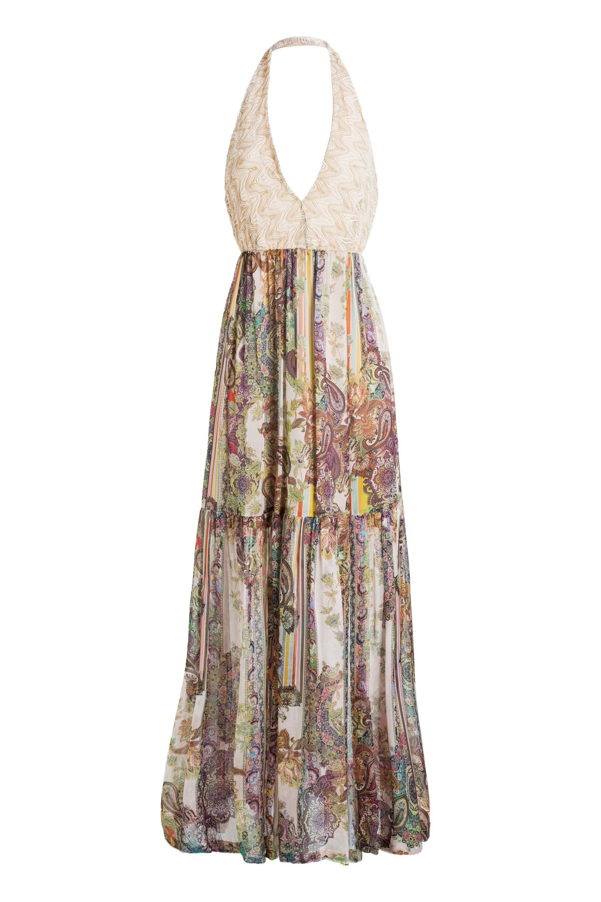 c33a0cbb33a Rosé-Colourful Maxi Dress Madalyn with Knitted Top