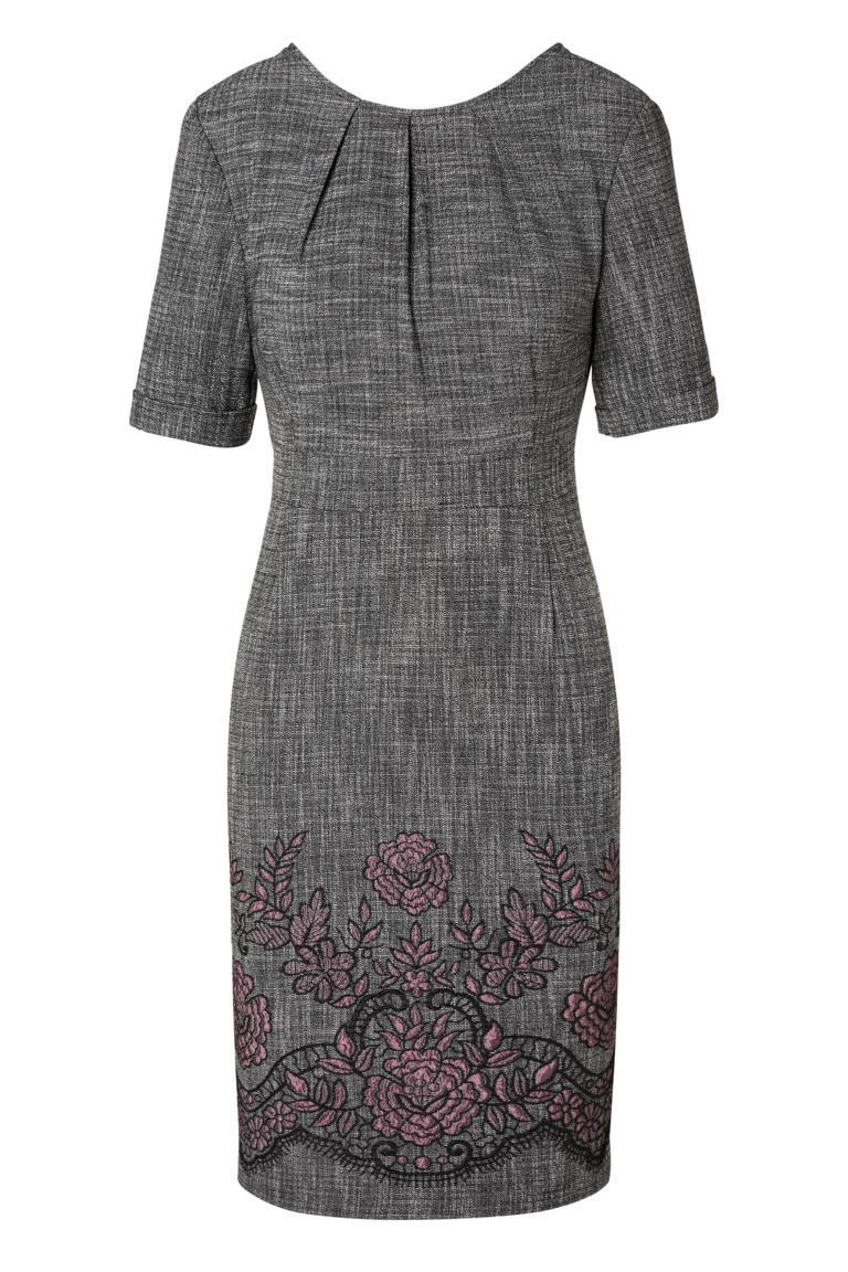 Grau Rose Besticktes Business Kleid Omira Aus Webstoff Ana Alcazar