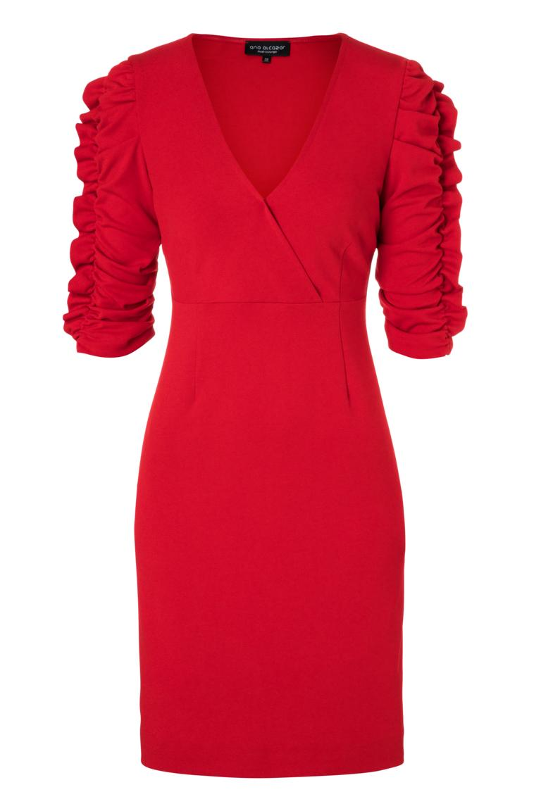 Ana Alcazar V-Neck Dress Peane Red