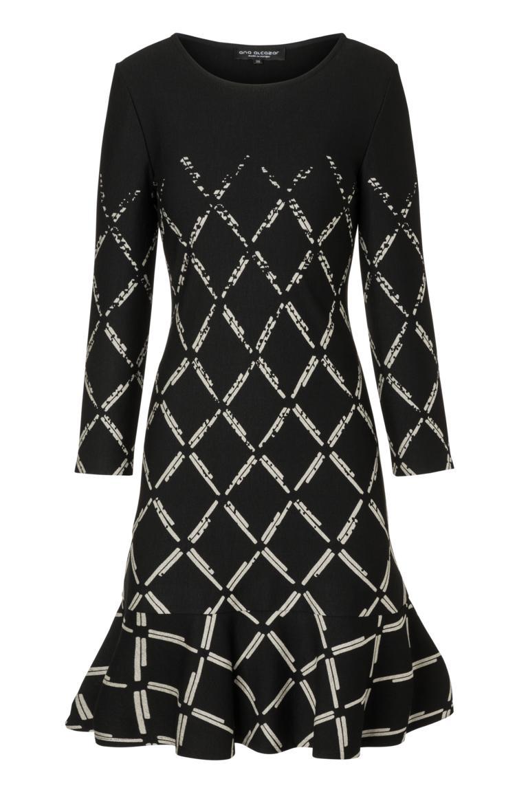 Ana Alcazar Volant Dress Prafuly Black-White