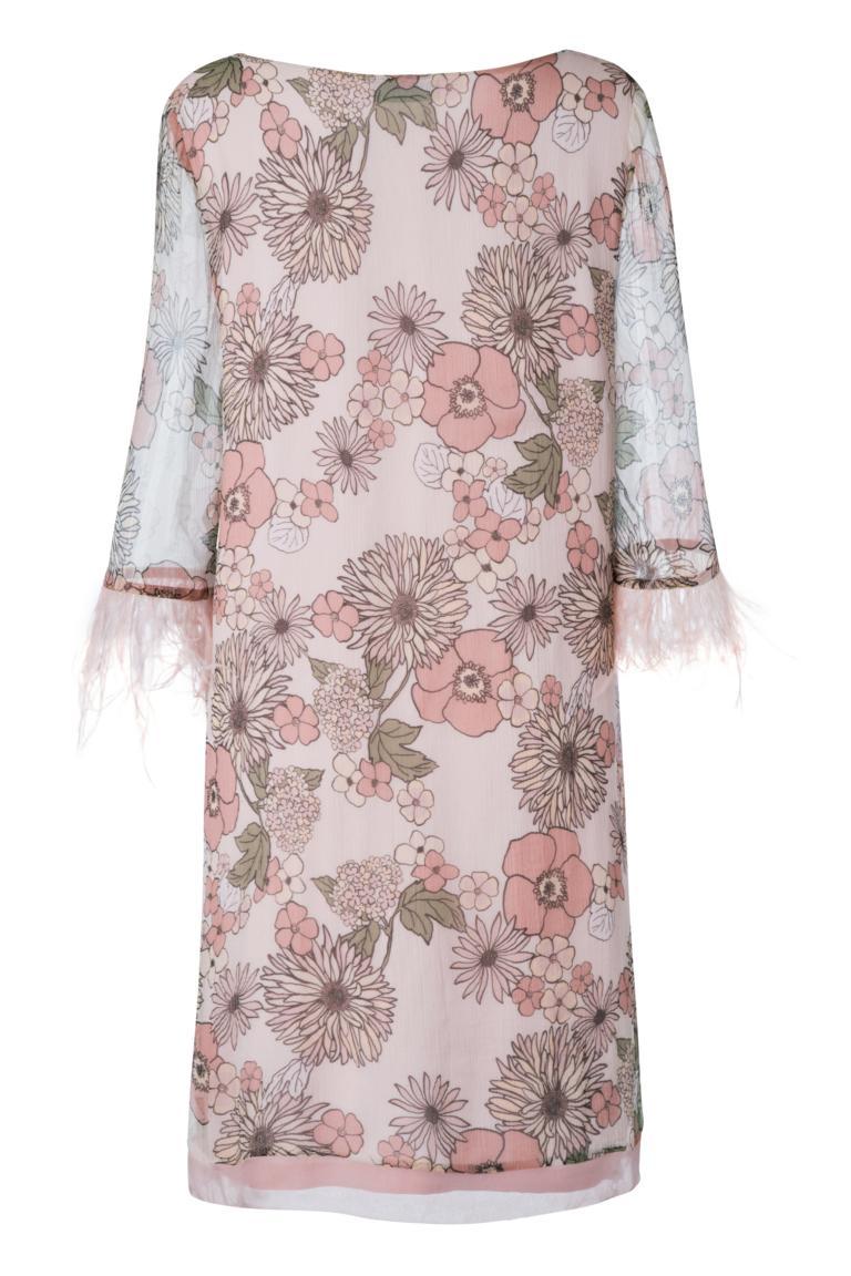 Rear view of Ana Alcazar Feather Silk Dress Naris