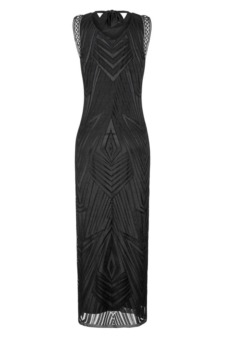 Rear view of Ana Alcazar Maxi  Dress Black Felisas