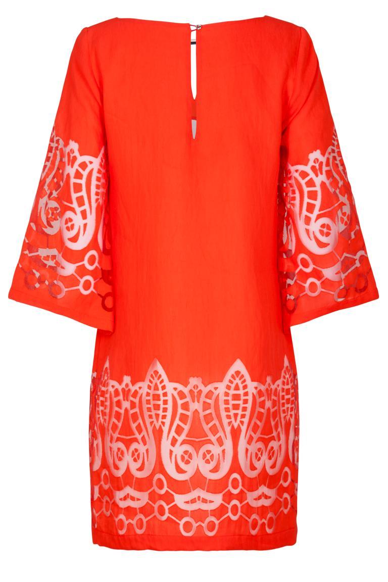 Rückansicht von Ana Alcazar Tunika Kleid Red-White Feya