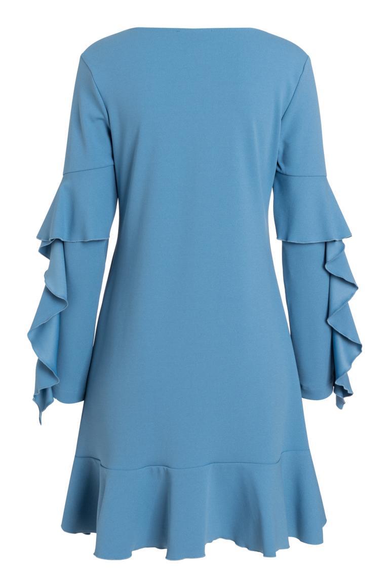 Rückansicht von Ana Alcazar Volantärmel-Kleid Philis Blau