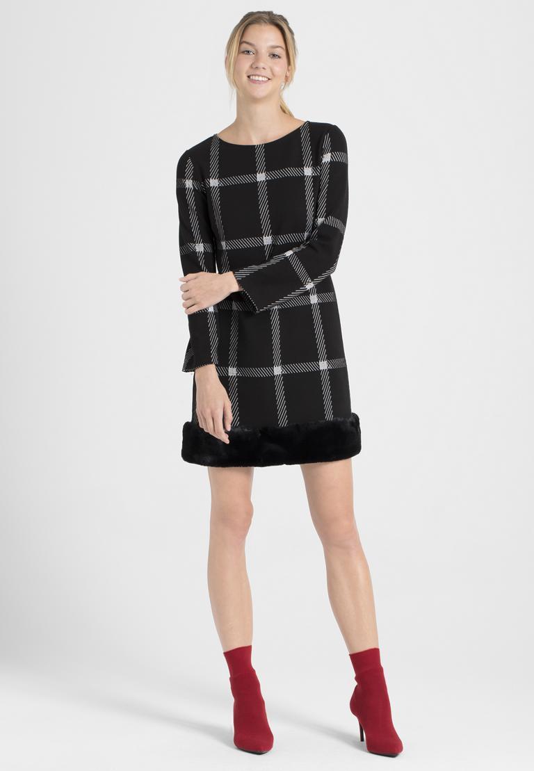 Rückansicht von Ana Alcazar Fake Fur Kleid Pramia Schwarz