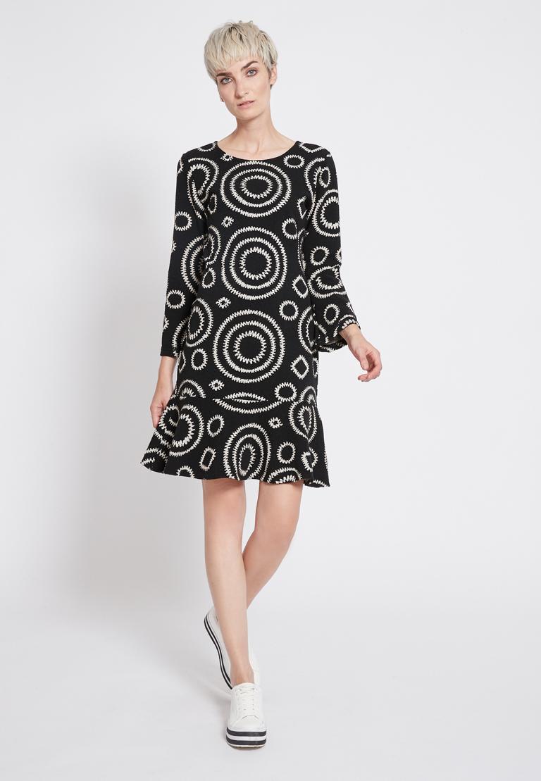 Rear view of Ana Alcazar Volant Dress Presena Black