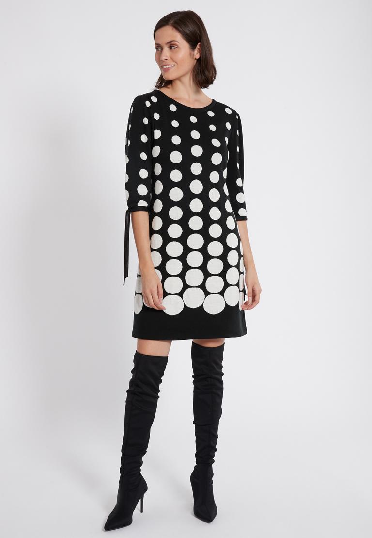Rückansicht von Ana Alcazar Ärmel Kleid  Palmara Schwarz-Weiß