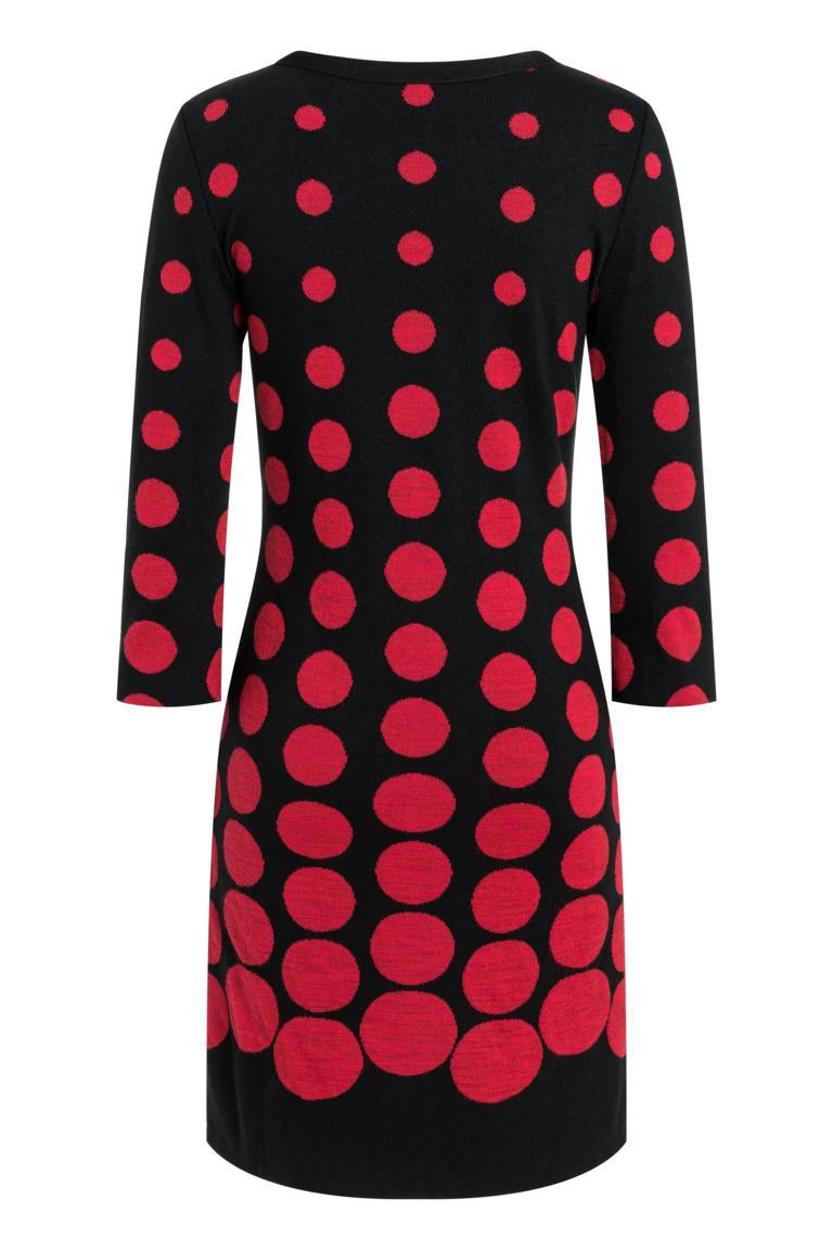 Rückansicht von Ana Alcazar Schleifen Kleid Peiky Schwarz-Rot