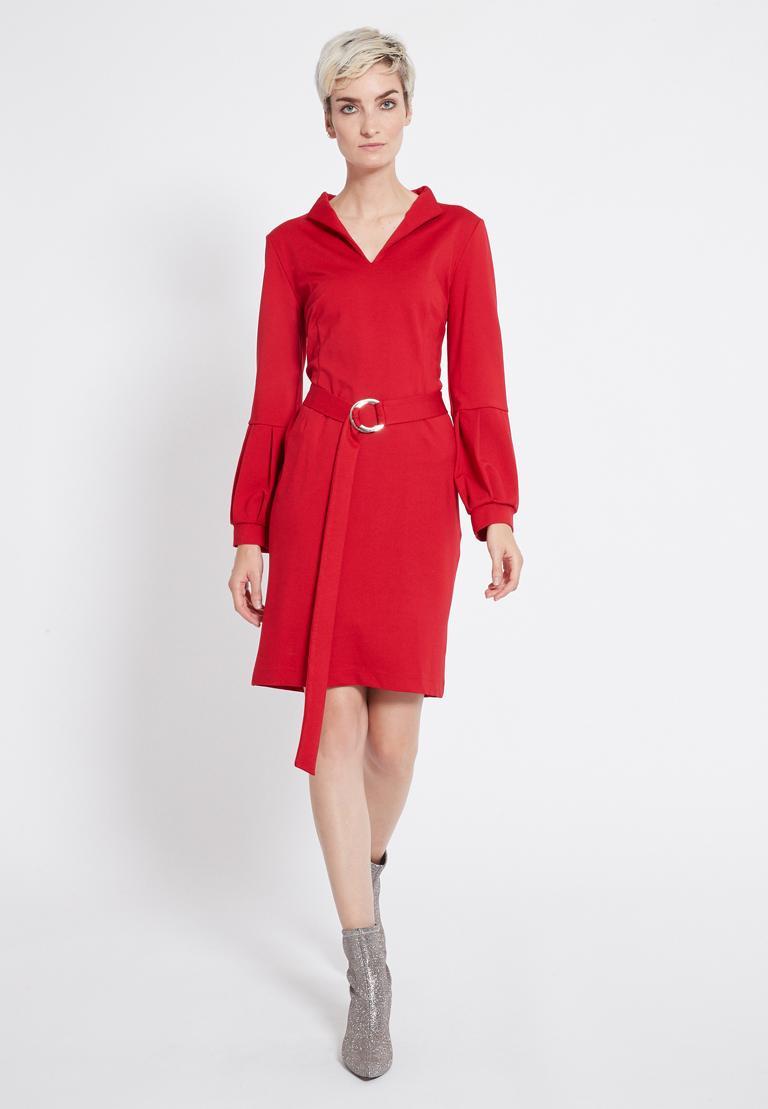Rückansicht von Ana Alcazar Gürtel Kleid Resyly Rot