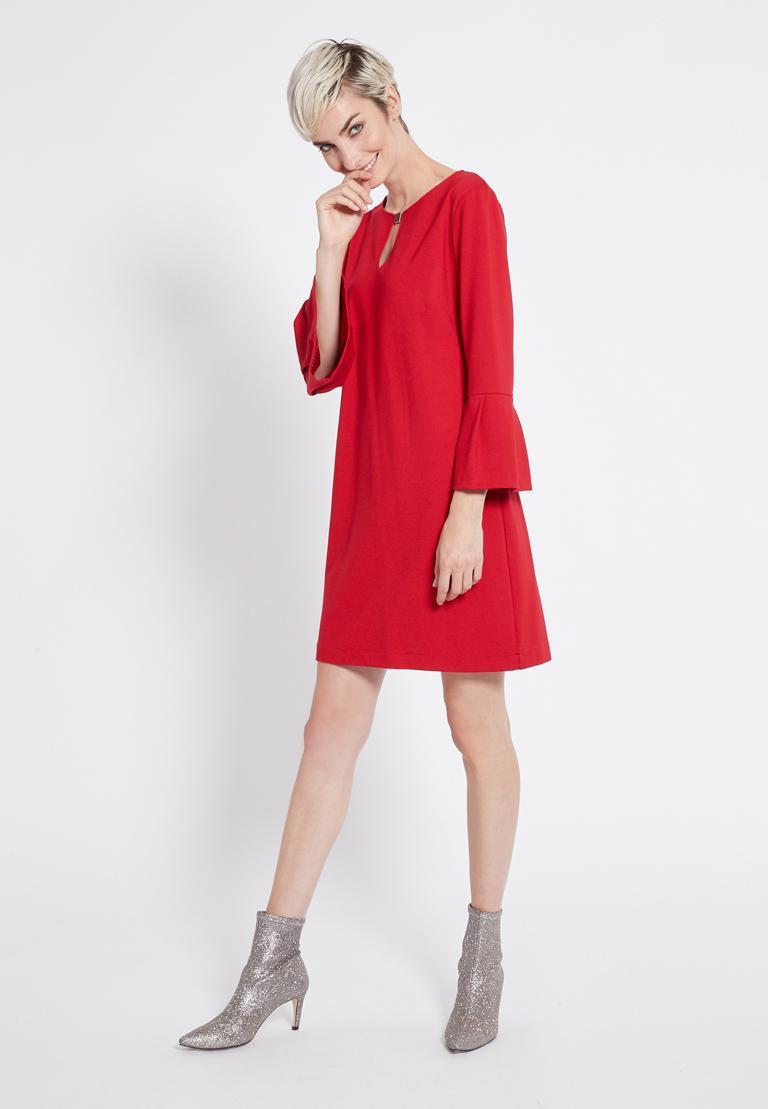 Rückansicht von Ana Alcazar Volantärmel Kleid Rasyea Rot