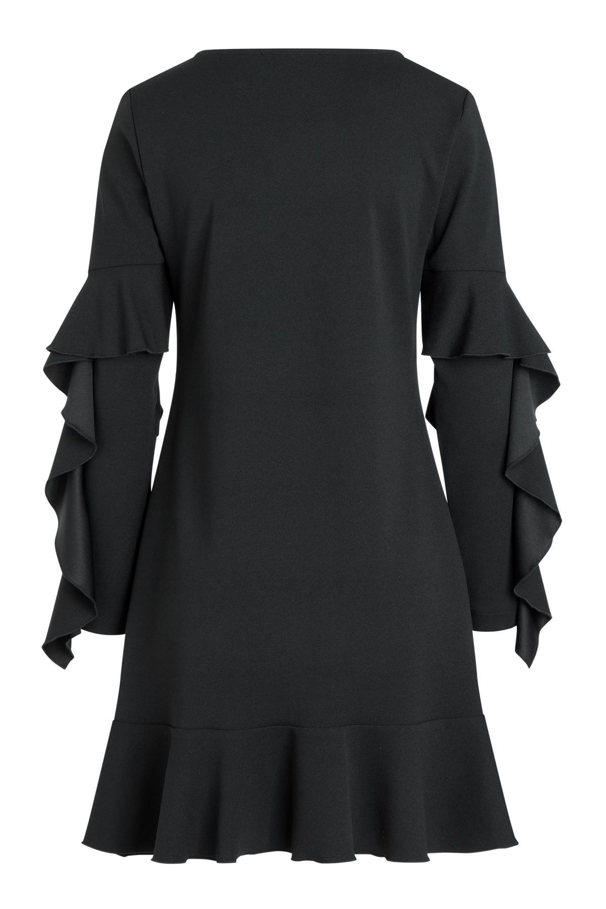 Rückansicht von Ana Alcazar Volantärmel Kleid Romy Schwarz