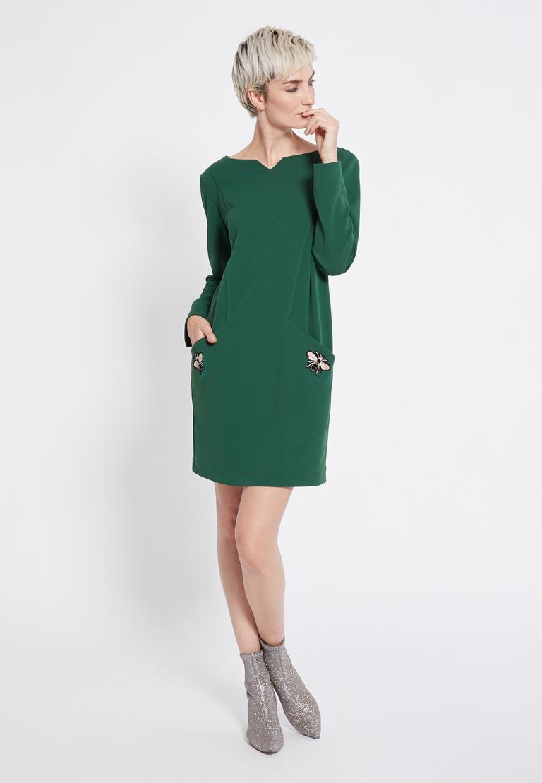 Rückansicht von Ana Alcazar Weites Kleid Rosmy Grün