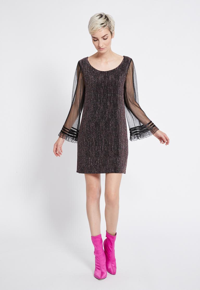 Rückansicht von Ana Alcazar Glitter Plissee Kleid Rafys