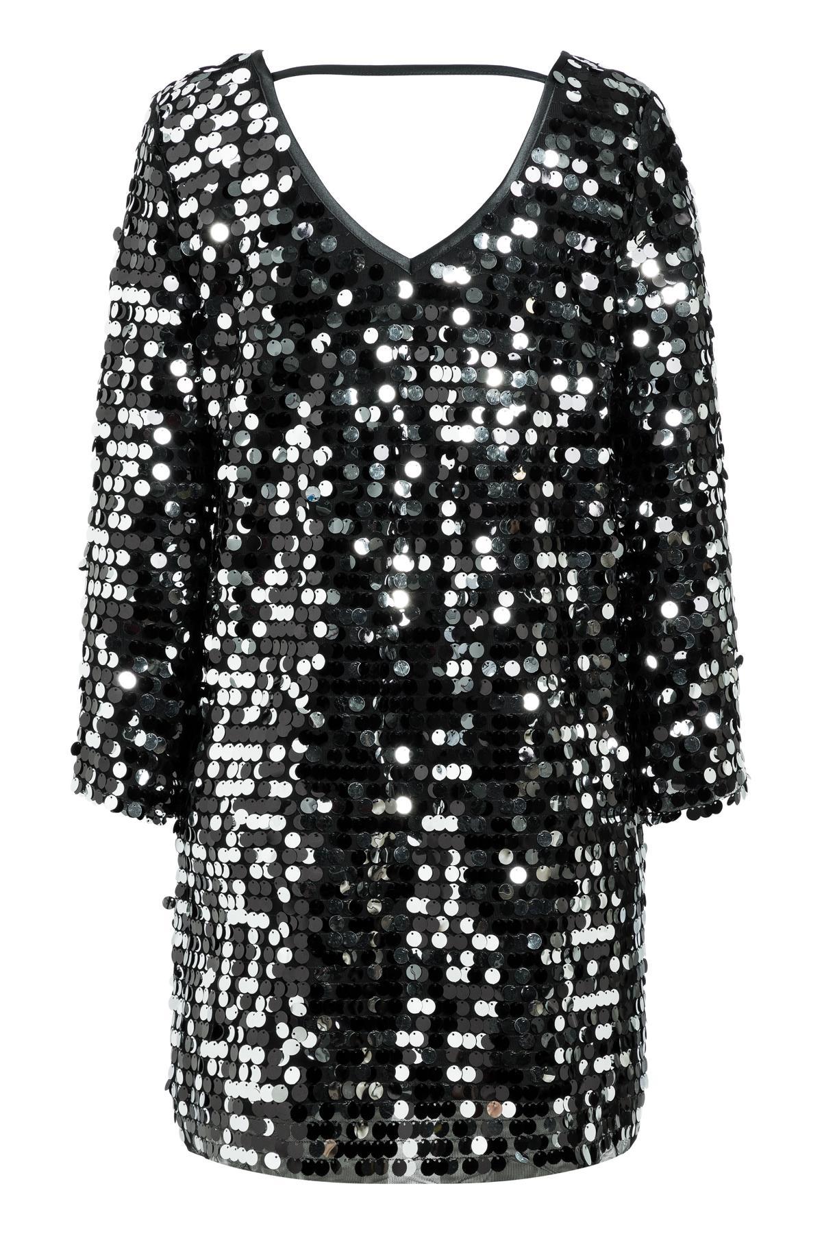 Rückansicht von Ana Alcazar Glam Pailletten Kleid Rhetys Schwarz