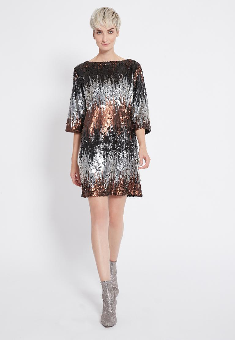 Rear view of Ana Alcazar Sequin Dress Rimas