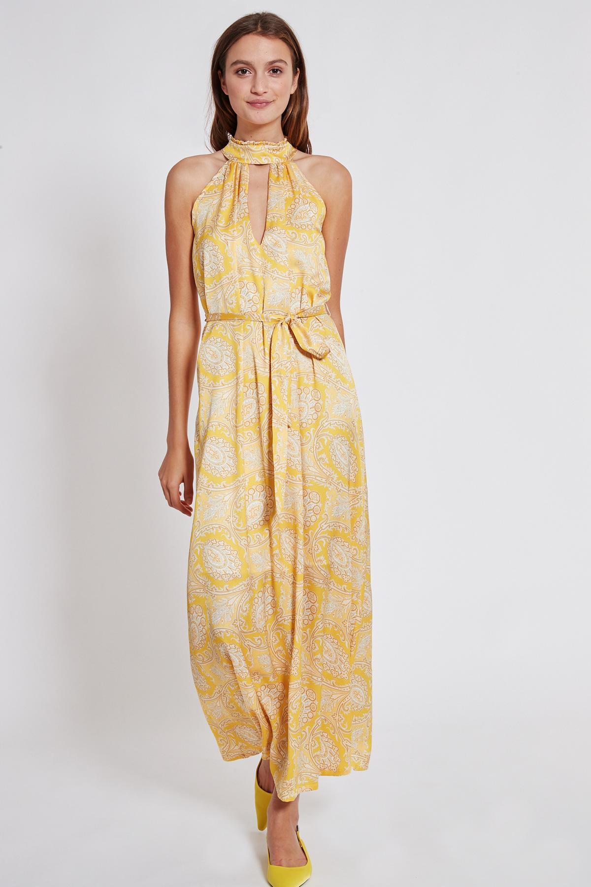 Rückansicht von Ana Alcazar Maxi Kleid Tefamy Gelb