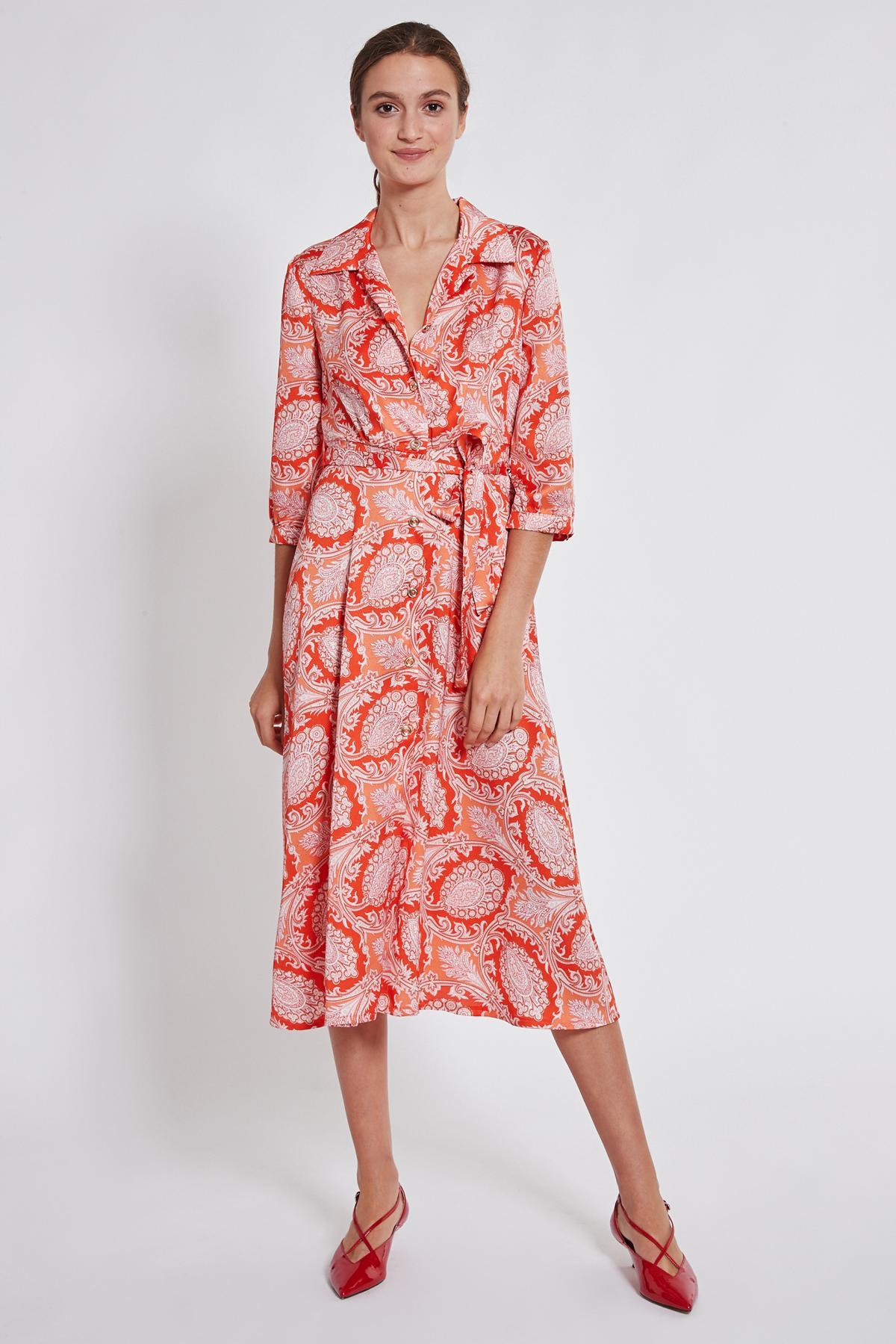Rückansicht von Ana Alcazar Midi Kleid Tefrole Rot