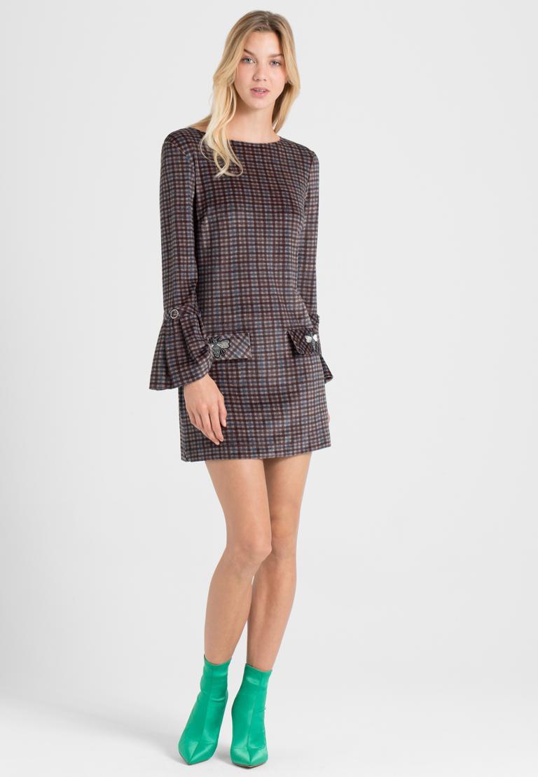 Rückansicht von Ana Alcazar Karo A-Linien-Kleid Ownika