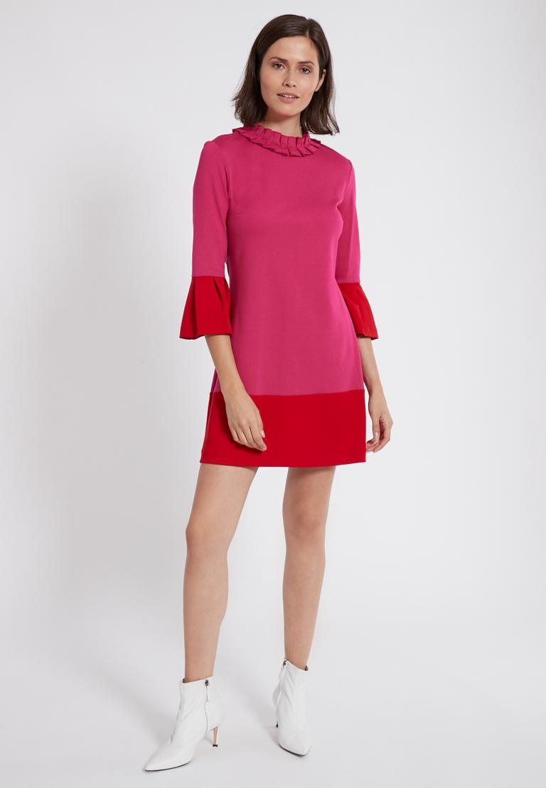 Rückansicht von Ana Alcazar Volantkleid Opalea Rot-Pink