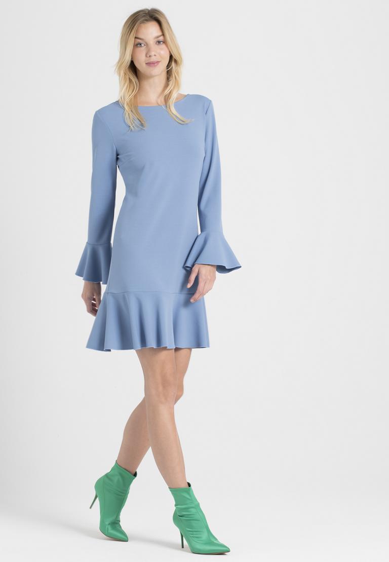 Rear view of Ana Alcazar Volant Dress Palya Blue